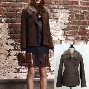 Club Monaco Wool Faux Fur Short Coat